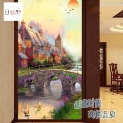 小城夕景易玻彩雕背景墙玻璃