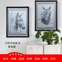 手绘良马玻璃装饰画 客厅卧室家居画