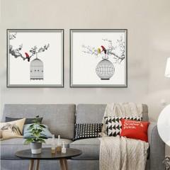 易玻商城简约三联画 鸟 家居客厅 书房挂画